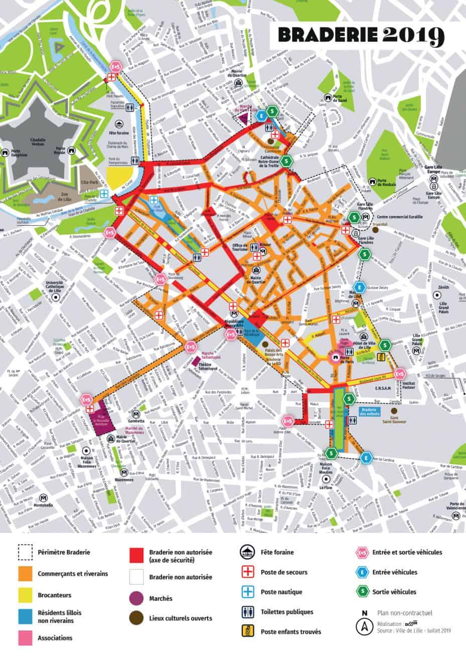Plan Braderie de Lille 2019 Map