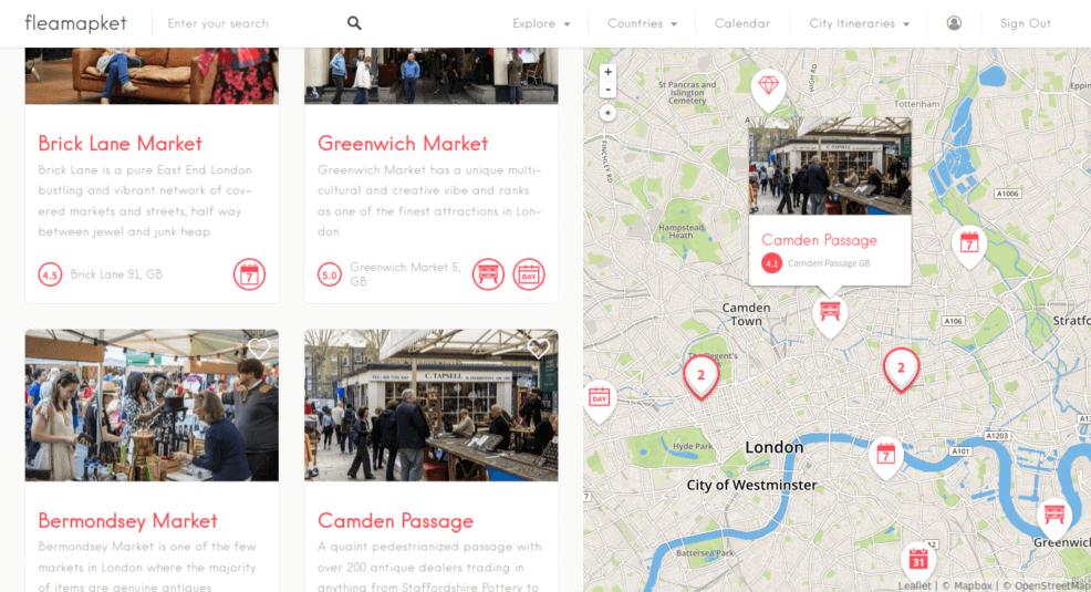 flea markets London on a map