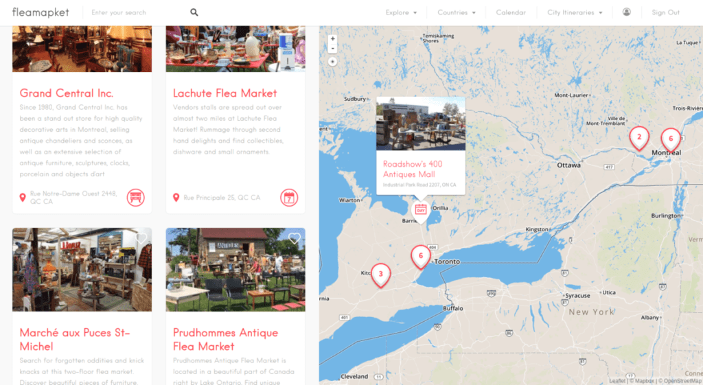 flea markets and antique shops in Canada
