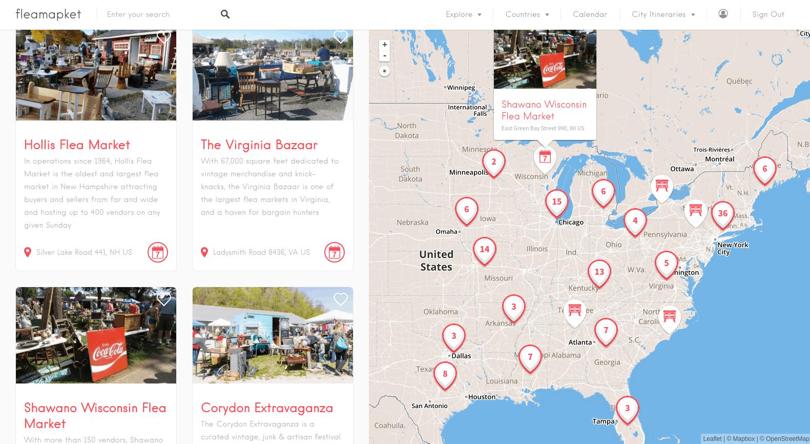 100 best flea markets in the US on a map - Fleamapket