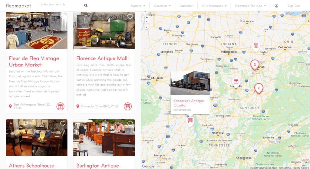 Kentucky flea markets map